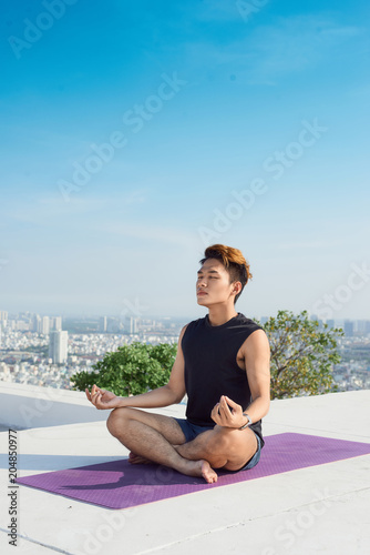 Poster Man practicing advanced yoga. A series of yoga poses. lifestyle concept.