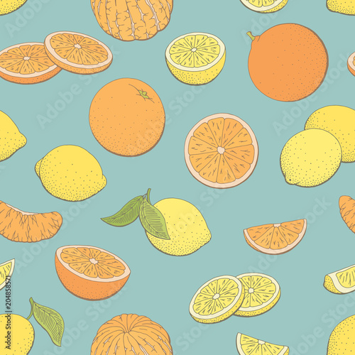 Lemon orange fruit graphic color seamless pattern background sketch illustration vector