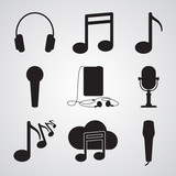 Carved silhouette icons, simple vector. Collection of basic symbols for web illustration of music. Audio walkman, notes, microphone, headphones - 204859561