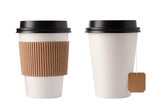 Two white paper cup with black top and label for coffee and tea. Isolated on white background. - 204859706