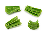 Aloe vera leaves collection isolated on white background - 204859759
