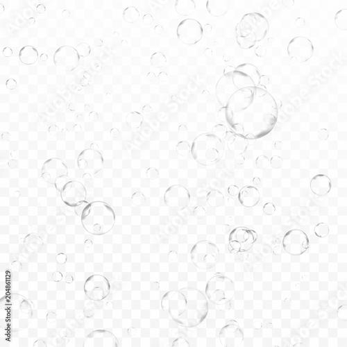 Przezroczyste bąbelki gazowane podwodne gazu w kratkę tle