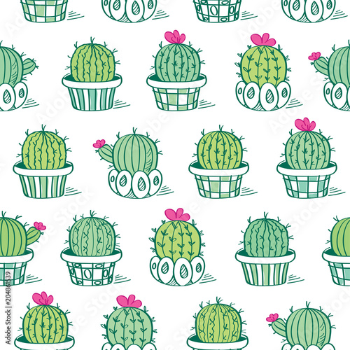 Fototapeta Seamless pattern with hand drawn cute cactuses for textile, wallpapers, gift wrap. Vector illustration.