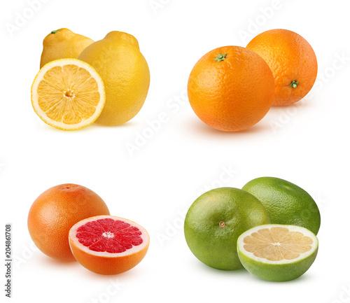 Owoce cytrusowe na białym tle.