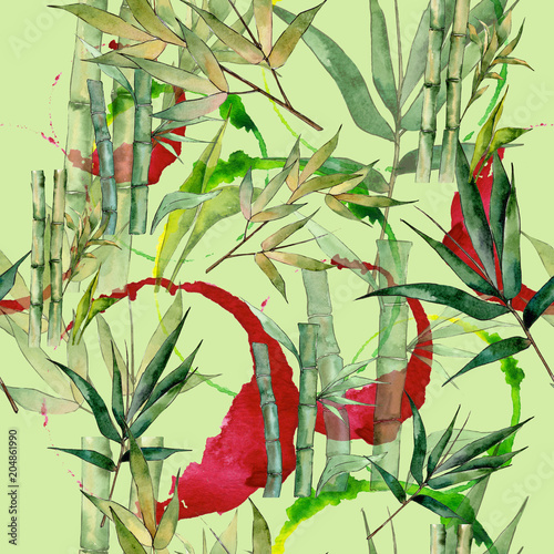 Bamboo tree pattern in a watercolor style. Aquarelle wild bamboo tree for background, texture, wrapper pattern, frame or border.