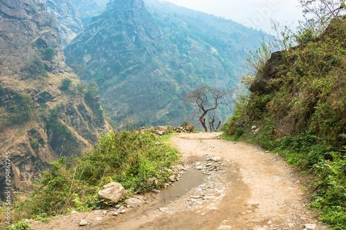 Fotobehang Blauwe jeans Mountain road in the Himalayas, Nepal.