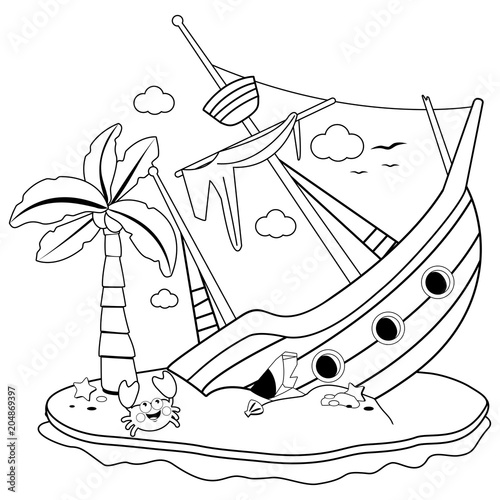 Shipwreck on an island. Black and white coloring book page