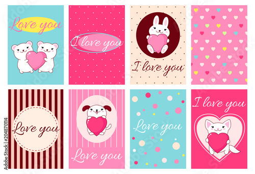 Valentine banners with cute animals - 204870114