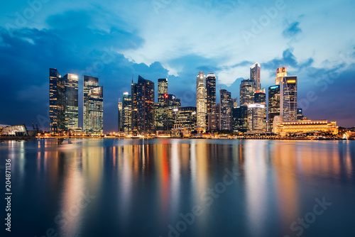Panoramic view of Singapore skyline at dusk