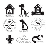 Pets Logo and Symbol Black and White, Cats & Dogs, Shop, Clinic, Store