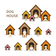 Dogs In Doghouse Or Kennel Large To Small Size Pets And Animal Sticker