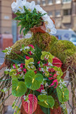 Street floral decorations that symbolize one human form - 204873373