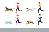 Canicross, People Running with Dogs, Sport Outdoor Training and Jogging