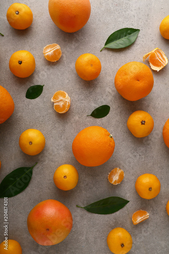 Citrus fruits pattern on concrete