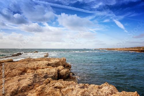 Plexiglas Cyprus a fantastic stunning colorful landscape, a blue sea shore, the coast of Cyprus, the neighborhood of Paphos