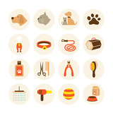 Pets Grooming Shop Icons Set, Cat and Dog, Beauty Equipment - 204876189