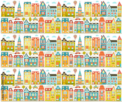 Vector file with cute city, home, street. Pattern - 204876345