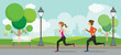 Man and Woman Running in the Park,  Exercise, Jogging with City Background