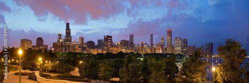 Aluminium Chicago Chicago skyline at dusk