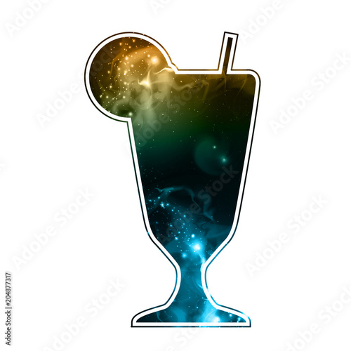 Fototapeta Cocktail silhouette with open space, universe, starfield and nebula inside