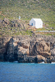 White chapel by the sea near the village of Hora Skafion in Crete, Greece - 204878397