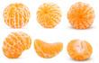 Set fresh peeled tangerine whole, half, one slice