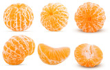 Set fresh peeled tangerine whole, half, one slice - 204878730