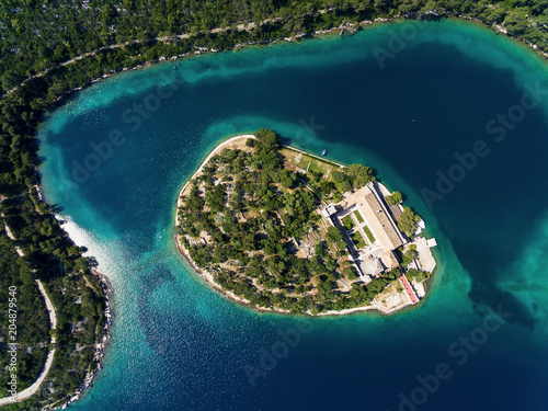 Fotobehang Tropical strand Aerial photo of the St. Mary island on island of Mljet In Croatia