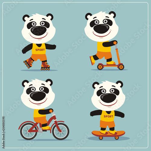 Fototapeta Set of isolated funny panda bear on bike, skateboard, scooter and roller skates.
