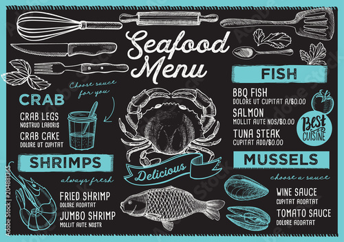 Wall mural Seafood restaurant menu. Vector food flyer for bar and cafe. Design template with vintage hand-drawn illustrations.