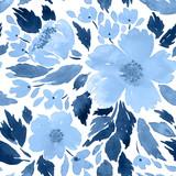 Watercolor loose flowers. Floral frame arrangement template in indigo blue - 204885117