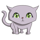 i am so cute meow is a vector image, illustrating a very funny purple cat.