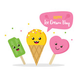 Cute colorful card, illustration for Ice Cream Day with three happy, smiling ice cream characters.  - 204885935