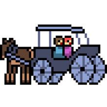 Pixel Art Carriage Sticker