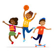 Children sport activities concept vector flat illustration. Cheerful kids walking, having party and doing activities outdoors isolated on white background. Girl and boy jumping, playing games