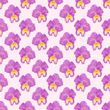 Orchid watercolor seamless pattern