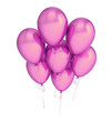 Party balloons 7 seven violet flying up, happy birthday decoration pink. Celebrate invitation greeting card background. 3d illustration, isolated