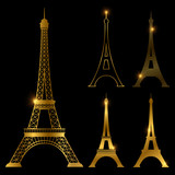 Different golden eiffel tower vector landmark set. Paris symbol icons