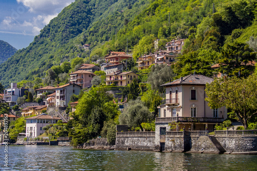 Canvas Natuur Town Sala Comacina on Como lake in Italy