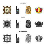 Picture, sarcophagus of the pharaoh, walkie-talkie, crown. Museum set collection icons in cartoon,black,monochrome style vector symbol stock illustration web.