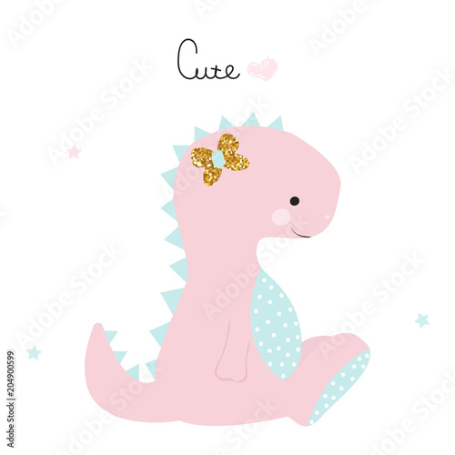 Cute little dinosaur girl with lettering. Vector hand drawn illustration.