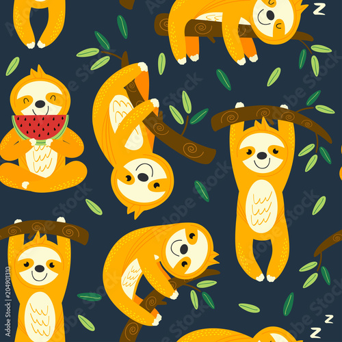Cotton fabric seamless pattern with funny sloths - vector illustration, eps