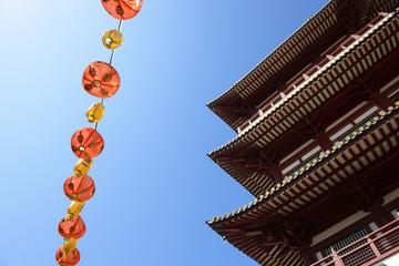 Chiness lanterns decorate around Buddha Tooth Relic temple at Singapore