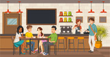 People sitting in a coffee shop. Cafe with friends on tables. - 204906147