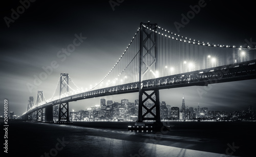 Fotobehang San Francisco San Francisco Bay Bridge at night