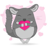 Chinchilla pet icon. Cute cartoon line art with details. Colored vector illustration isolated on white.