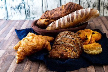Assortment of baked French bread