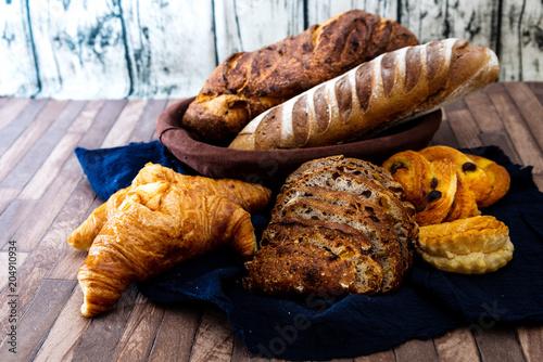 Fototapeta Assortment of baked French bread