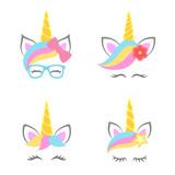 Cute unicorn faces. Unicorn heads. Unicorn constructor. Vector