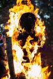 Human puppet burning in fire at walpurgis night Beltane